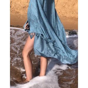 Aqua Seaweed Print Sarong