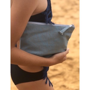 Aqua Tide Print Canvas Pouch